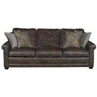 Casual Classic Stone Brown Leather Sofa - Crafton