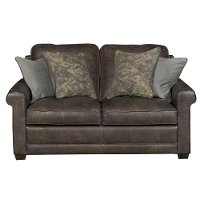 Casual Classic Stone Brown Leather Loveseat - Crafton