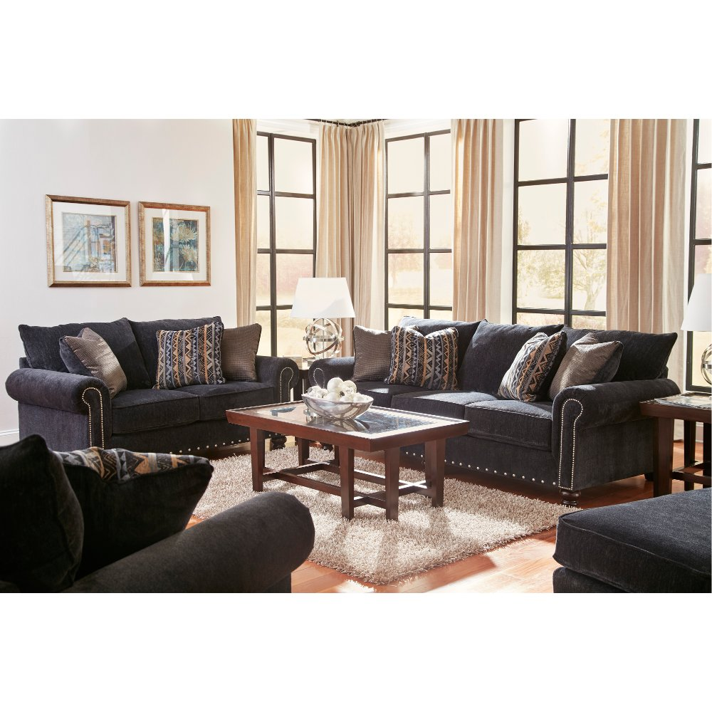 Traditional Slate Sofa & Loveseat Set Avery