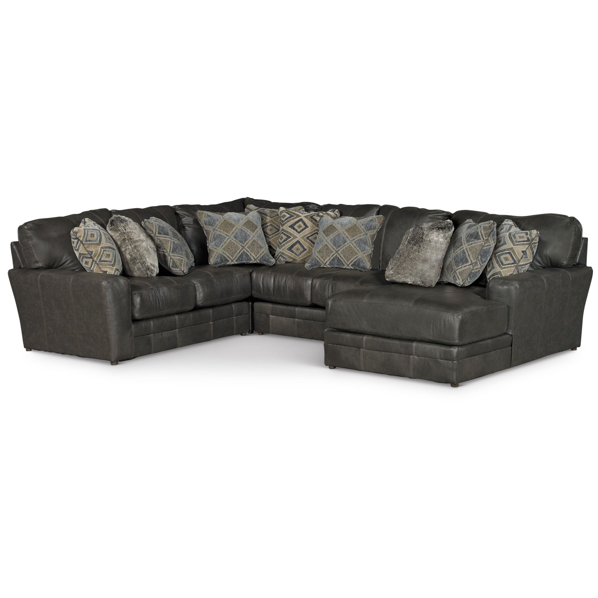 Casual Classic Steel Gray Leather Match 4 Piece Sectional Denali