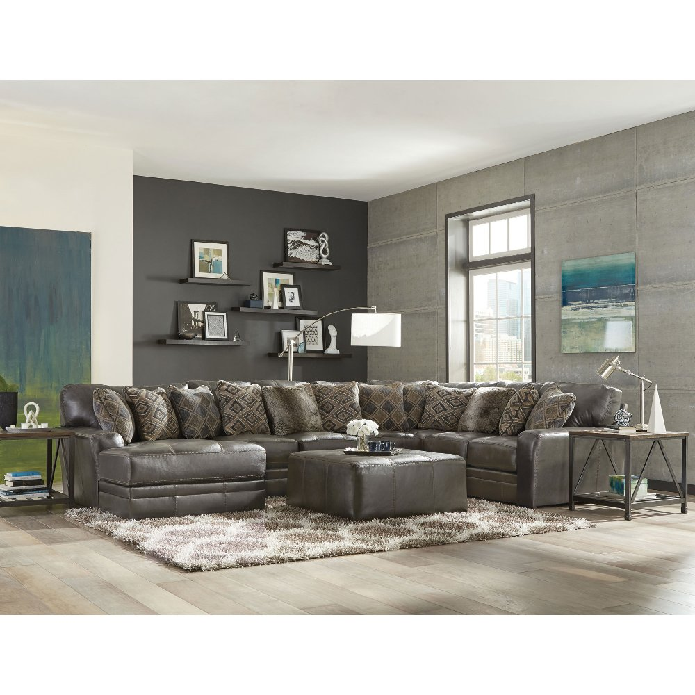 Casual Clic 5 Piece Steel Gray Leather Match Sectional