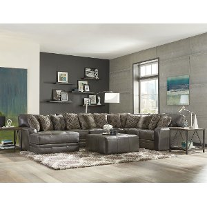 ... Casual Classic 5 Piece Steel Gray Leather-Match Sectional ...  sc 1 st  RC Willey : leather sectional grey - Sectionals, Sofas & Couches