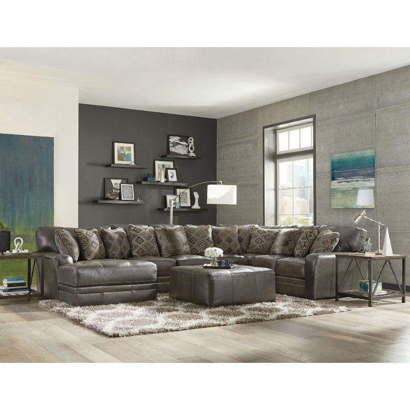 grey sectional living room casual classic steel gray 5 sectional sofa denali 11797