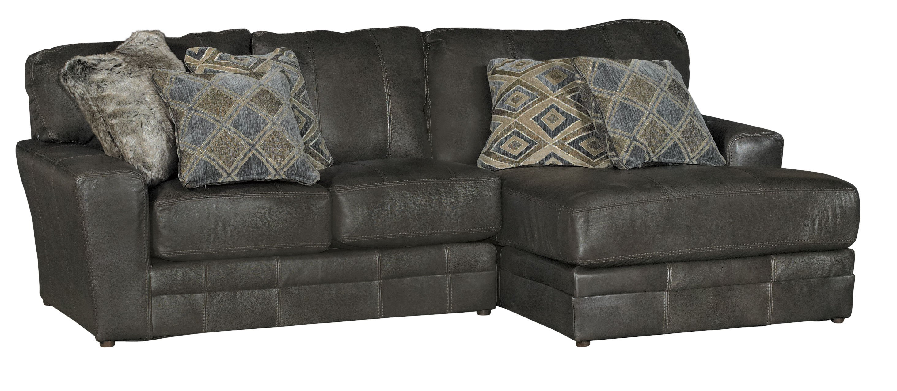 Casual Classic 5 Piece Steel Gray Leather Match Sectional