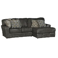 Casual Classic Steel Gray Leather-Match 2-piece Sectional - Denali