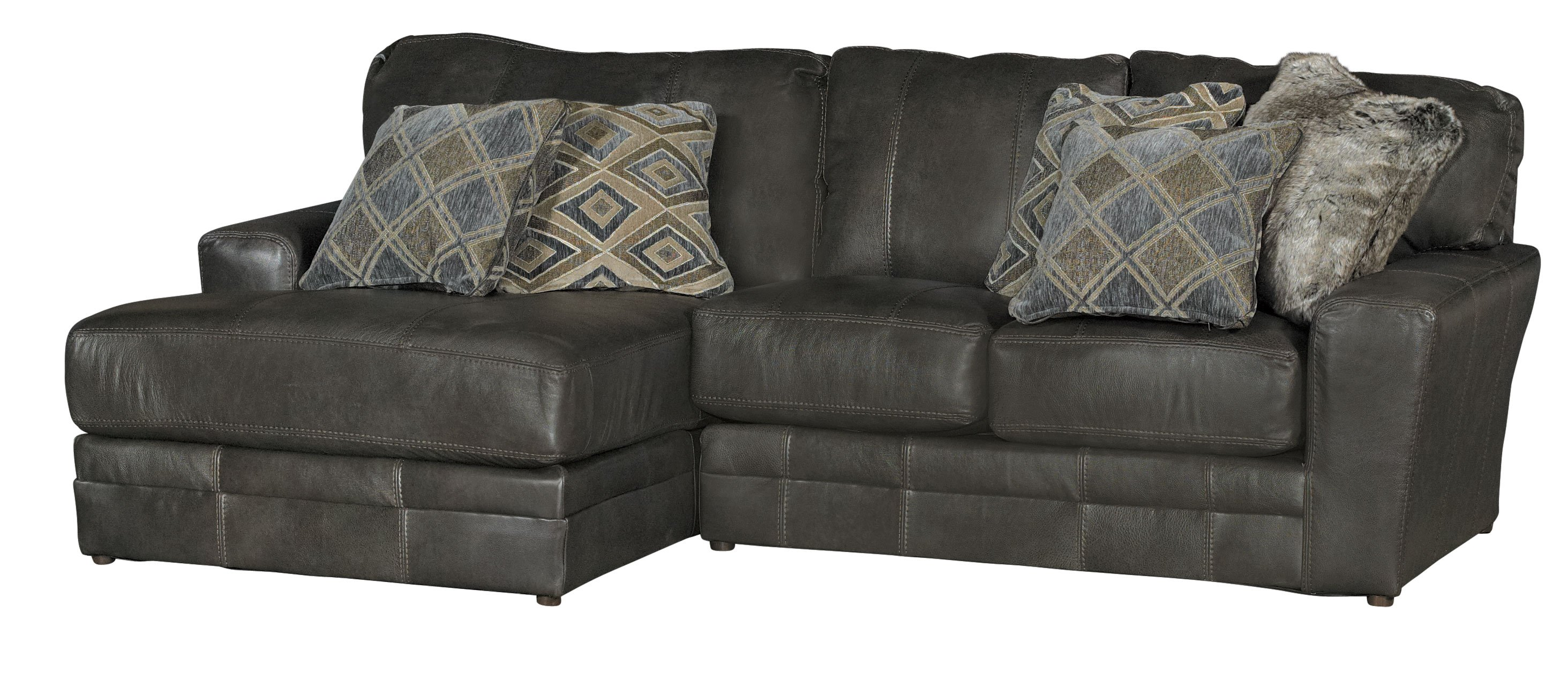 Casual Classic 4 Piece Steel Gray Leather Match Sectional
