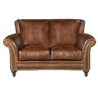 Classic Traditional Brown Leather Loveseat - Butler