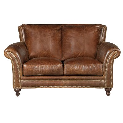 1669 2239 02/5507/LV Classic Traditional Brown Leather Loveseat   Butler