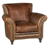 Classic Traditional Brown Leather Chair - Butler