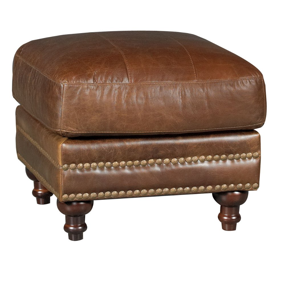 classic traditional brown leather ottoman butler