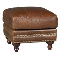 1669-2239-00/5507/OT Classic Traditional Brown Leather Ottoman - Butler