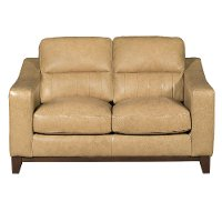 Clearance Contemporary Pecan Brown Leather Loveseat - Mutual