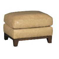 Contemporary Pecan Brown Leather Ottoman - Mutual