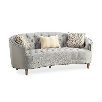 Traditional Gray Curved Sofa - Classic Elegance