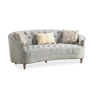 Superior Traditional Gray Curved Sofa   Classic Elegance