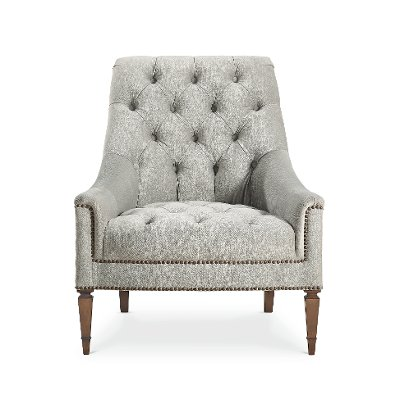 Traditional Gray Button Tufted Chair   Classic Elegance