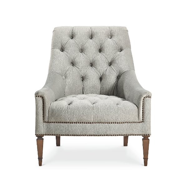 Attrayant ... Traditional Gray Button Tufted Chair   Classic Elegance