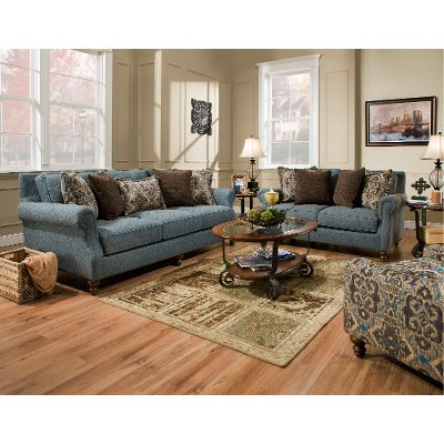 casual traditional blue sofa loveseat set robin - Blue Living Room Set