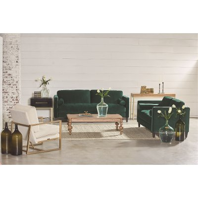 Magnolia Home Furniture Emerald Green Velvet Sofa   Loveseat   Dapper. RC Willey has luxurious living room groups in stock