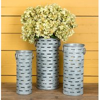 17 Inch Metal Cylinder Olive Bucket with Handles