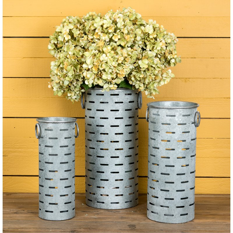 17 inch metal cylinder olive bucket with handles rcwilley image1~800