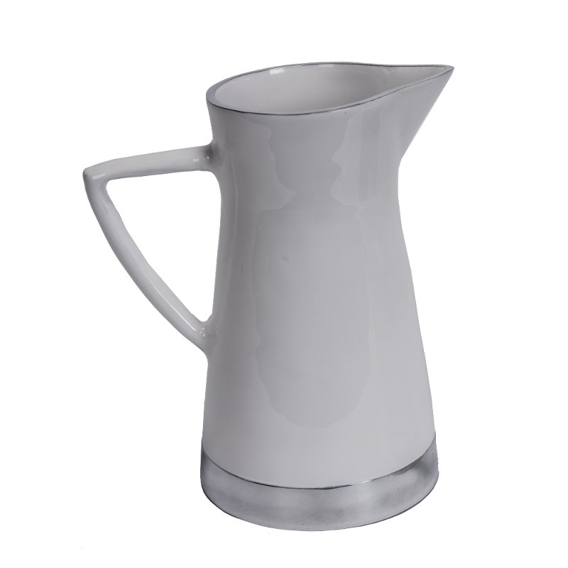 """Now at RC Willey, add a touch of vintage charm to your decor with this 10"""" aluminum pitcher. Finished in a white enamel, this piece will fit in beautifully with your decor, whether you have antiques or a modern mantle."""
