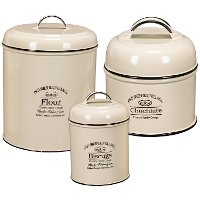 11 Inch Cream Round Enamelware Lidded Canister