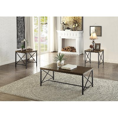 Transitional Oak 3 Piece Coffee Table Set RC Willey Furniture Store