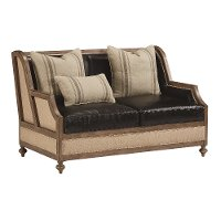 Magnolia Home Furniture Ivory & Black Leather Loveseat - Foundation
