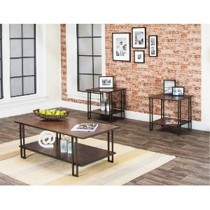 Oak 3 Piece Coffee Table Set