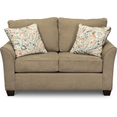 Casual Contemporary Light Brown Loveseat - Tara