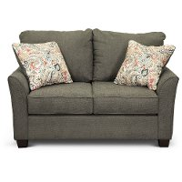 Casual Contemporary Charcoal Gray Loveseat - Tara