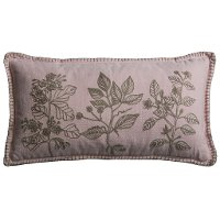 Pink Embroidered Floral Throw Pillow - Carly