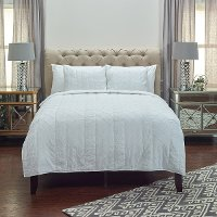 Claire White Cotton Queen Quilt Bedding Collection