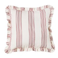 Red Stripe Ticking Euro Sham with Ruffle