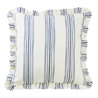 Navy Stripe Ticking Euro Sham with Ruffle