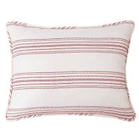 Red Ticking Stripe Standard Sham