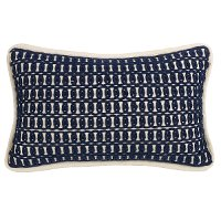 Navy Blue and White Rope Embroidery Throw Pillow