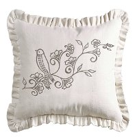 White Ruffled Embroidered Bird and Floral Throw Pillow