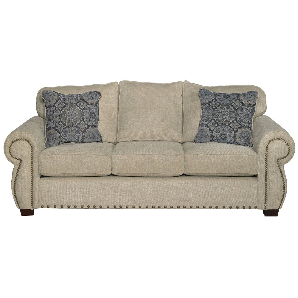 Casual Traditional Canvas Tan Sofa Southport