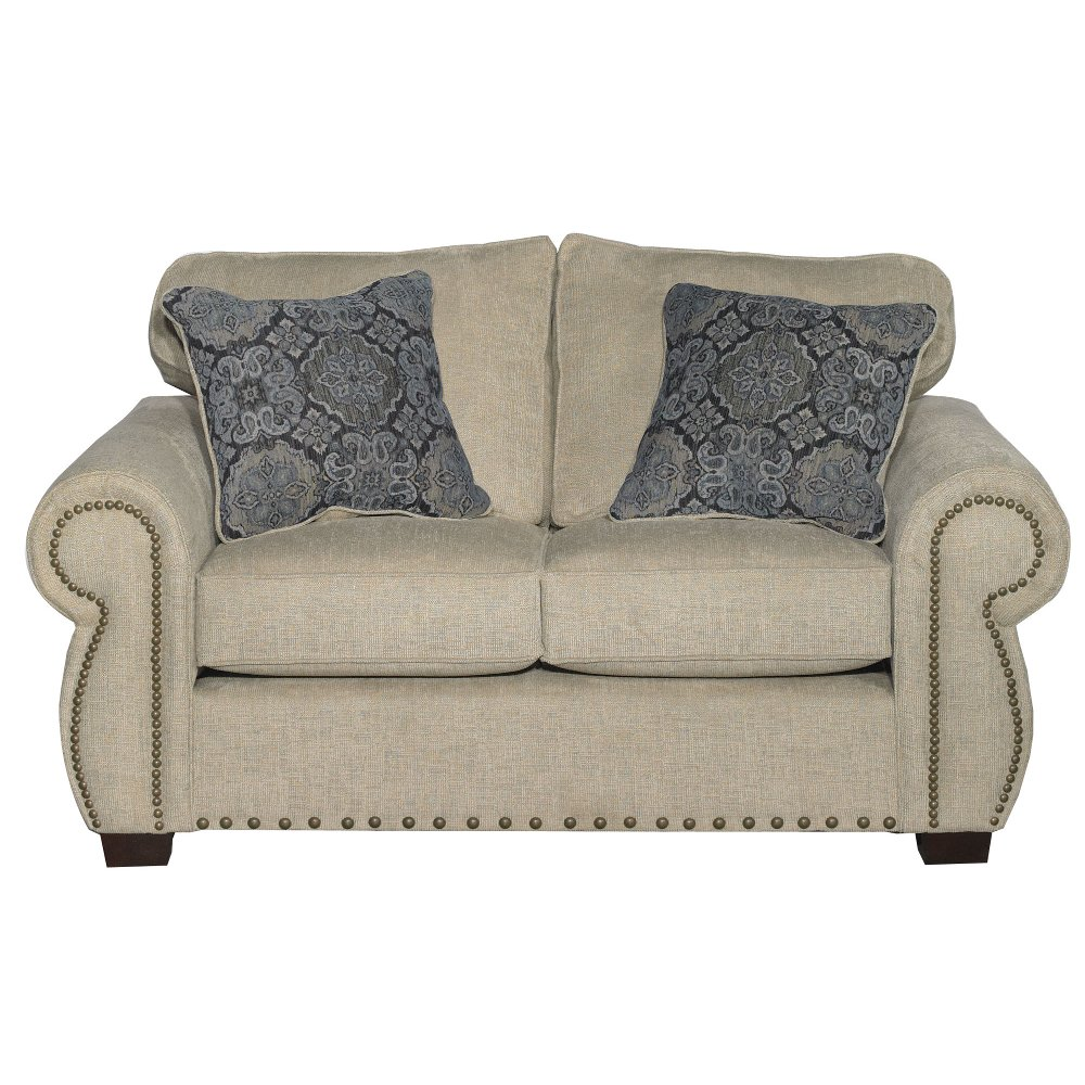 tan front luckenbach curved loveseat