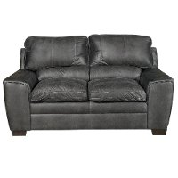 Contemporary Graphite Gray Loveseat - Caruso