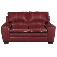 Casual Contemporary Cinnamon Red Loveseat - Caruso