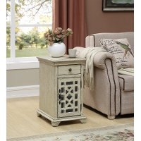 Modern Ivory White End Table - Kevin