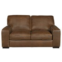 91-B858-005/30JA/LV Contemporary Brown Leather Loveseat - Vincenzo