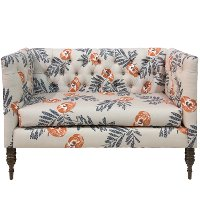 3006MDFLRORNOGA Mod Floral Orange Tufted Settee