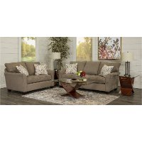 Contemporary Brown 7 Piece Living Room Set - Tara