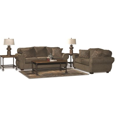 Casual Traditional Coffee Brown 7 Piece Living Room Set - Southport ...