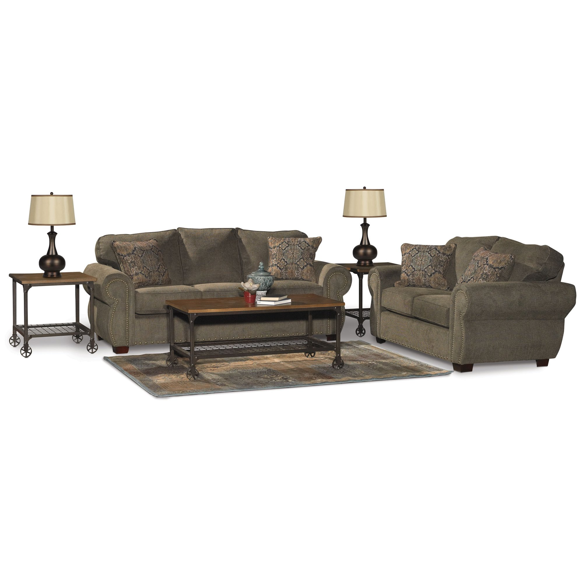 Traditional Coffee Sofa Bed 7 Piece Living Room Set - Southport | RC ...