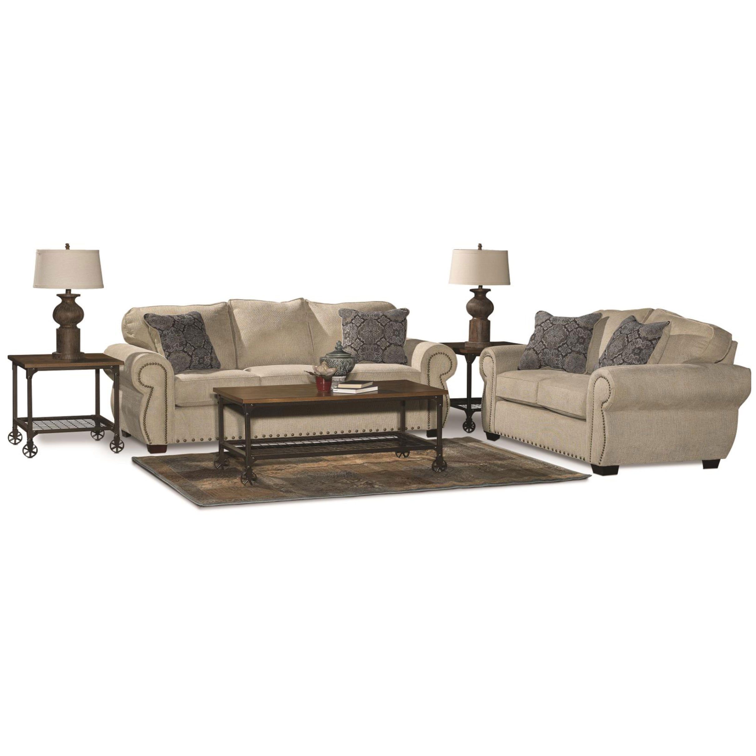 Casual Traditional Canvas Tan 7 Piece Living Room Set - Southport ...